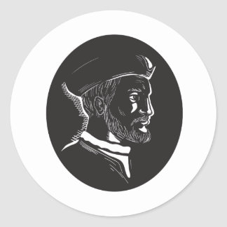 Jacques Cartier French Explorer Oval Woodcut Round Sticker
