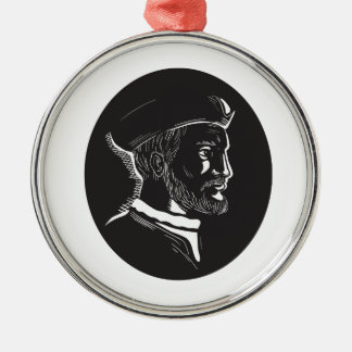 Jacques Cartier French Explorer Oval Woodcut Silver-Colored Round Ornament
