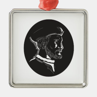 Jacques Cartier French Explorer Oval Woodcut Silver-Colored Square Ornament