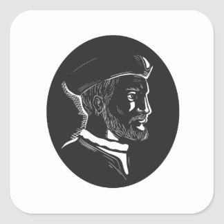 Jacques Cartier French Explorer Oval Woodcut Square Sticker