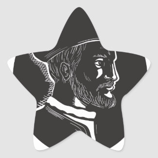 Jacques Cartier French Explorer Oval Woodcut Star Sticker