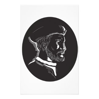Jacques Cartier French Explorer Oval Woodcut Stationery