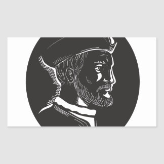 Jacques Cartier French Explorer Oval Woodcut Sticker