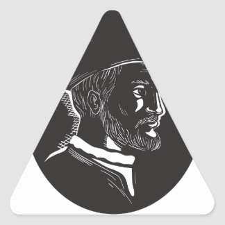 Jacques Cartier French Explorer Oval Woodcut Triangle Sticker