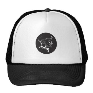 Jacques Cartier French Explorer Oval Woodcut Trucker Hat