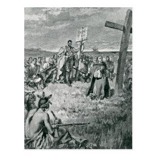 Jacques Cartier installant une croix chez Gaspé Cartes Postales