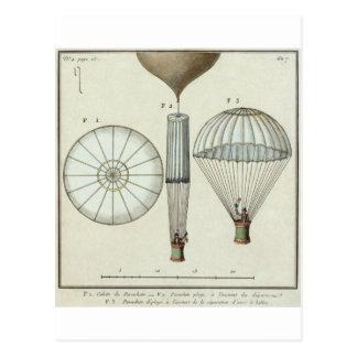 Jacques Garnerin's first parachute Postcard