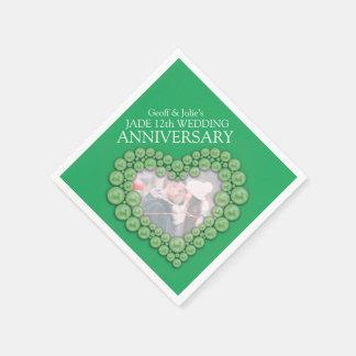 Jade 12th Wedding Anniversary heart photo napkins