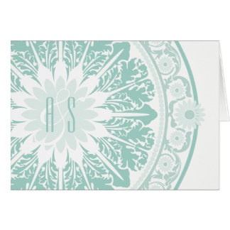 Jade Baroque Monogrammed Thank You Card