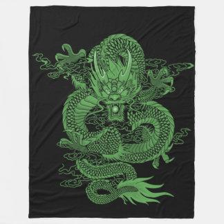 Jade Chinese Emperor Dragon Fleece Blanket
