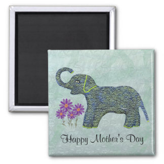 Jade Elephant Mother's Day Square Magnet