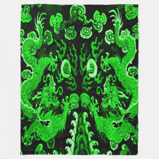 Jade Emperor Dragons Fleece Blanket