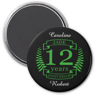 Jade Gemstone wedding anniversary 12 years 3 Inch Round Magnet