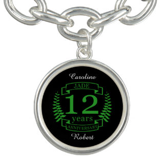 Jade Gemstone wedding anniversary 12 years Charm Bracelets