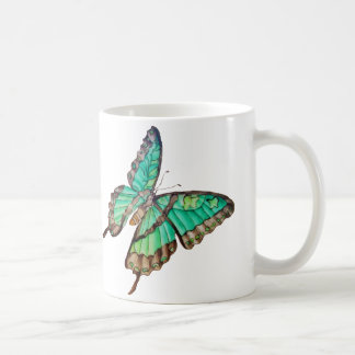 Jade Green and Golden Butterflies Mug