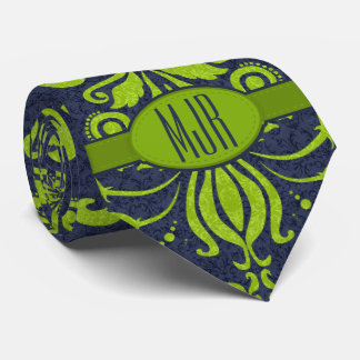 Jade Green and Navy Damask Swirl Monogram Tie