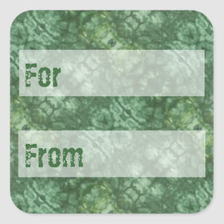 Jade Green Batik Style Gift Tag Square Sticker