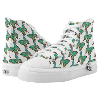 Jade Green Butterfly High Top Shoes