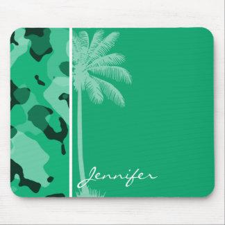 Jade Green Camo; Summer Palm Mouse Pad