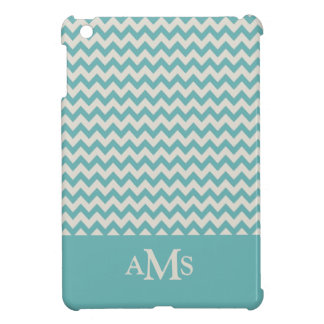 Jade Green Chevron Stripe 3  Monogram iPad Mini Covers
