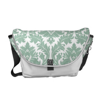 Jade Green Damask pattern Courier Bags