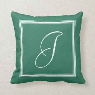Jade Green Elegant Script and Arrows Monogrammed Throw Pillow