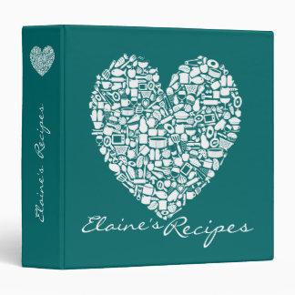 Jade Green Heart Recipe Personalized Name Binder