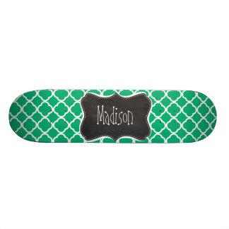 Jade Green Moroccan Quatrefoil; Chalkboard look Skate Board Decks
