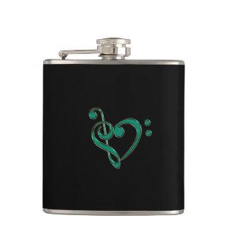 Jade Green Treble Bass Clef Heart Music Flask