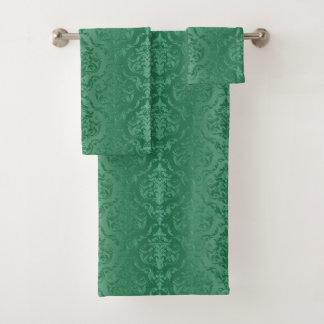 Jade Green Vintage Style Damask Towel Set