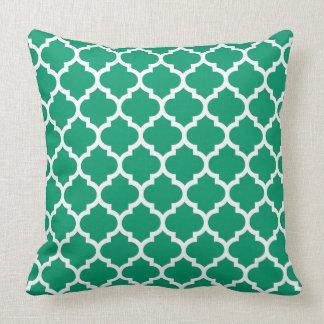 Jade Green White Moroccan Quatrefoil Pattern #5 Throw Pillow
