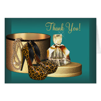 Jade High Heel Shoes Leopard Thank You Cards