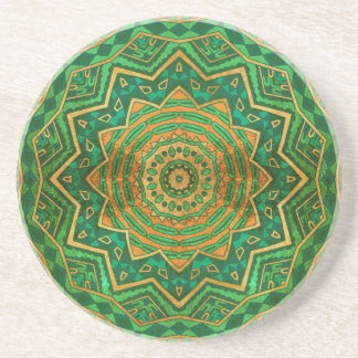 Jade mandala beverage coaster