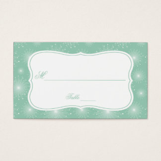Jade Mint White Starbursts Sunbursts Place Cards