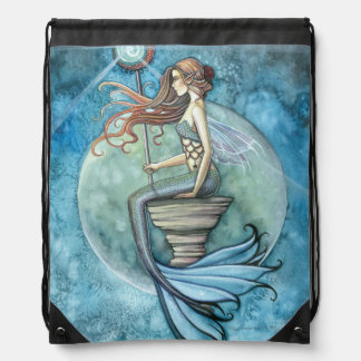 Jade Moon Mermaid Fantasy Art Drawstring Bag