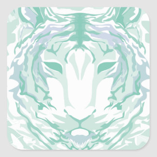 Jade mountain tiger square sticker