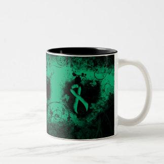 Jade Ribbon Grunge Heart Two-Tone Coffee Mug