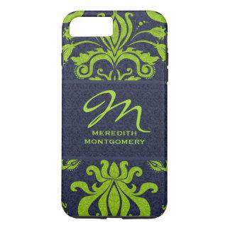Jade with Navy Blue Damask Monogram iPhone 7 Plus Case