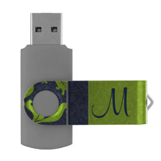 Jade with Navy Blue Damask   Monogrammed Flash Swivel USB 2.0 Flash Drive
