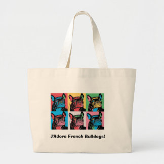 J'Adore French Bulldogs! Large Tote Bag