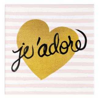 J'adore Quote | Black & Gold Heart Acrylic Print