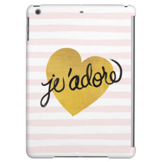 J'adore Quote   Black & Gold Heart iPad Air Cover