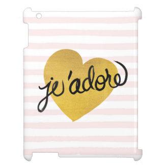 J'adore Quote | Black & Gold Heart iPad Case