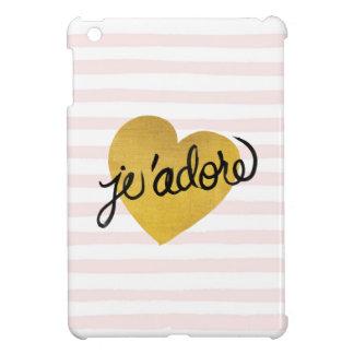 J'adore Quote | Black & Gold Heart iPad Mini Covers