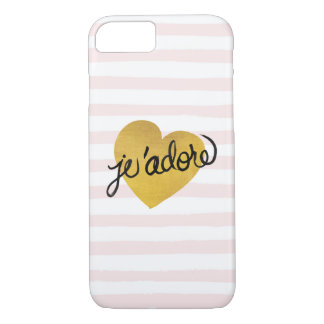 J'adore Quote | Black & Gold Heart iPhone 8/7 Case