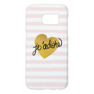 J'adore Quote | Black & Gold Heart Samsung Galaxy S7 Case