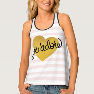 J'adore Quote | Black & Gold Heart Tank Top