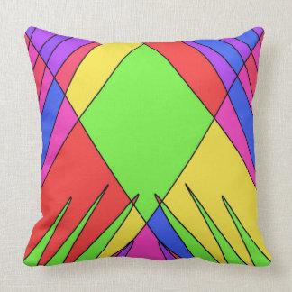 Jagged Edges Bright Geometric Design Throw Pillow
