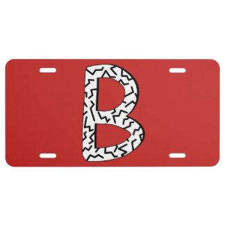 Jagged Pattern B License Plate