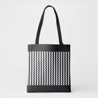 Jagged White Zig-Zag Customizable Tote Bag